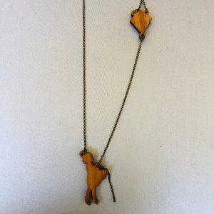 Stolen Thunder Wood Girl Flying Kite Necklace